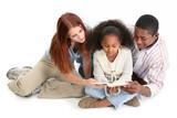 stock photography:  interracial family reading bib poster
