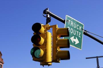 traffic light on green, manhattan