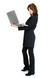 beautiful hispanic woman with laptop poster