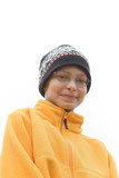 boy in ski hat and fleece pullover poster