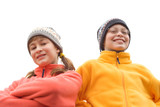 kids in ski hats and fuzzy pullovers poster