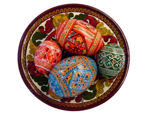 easter eggs on the tradional russian plate