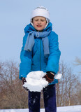 young girl playing with snow poster
