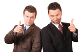 2 business men pointing at you poster