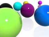 abstract multi-colour balls poster