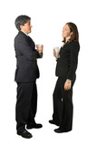 business couple enjoying a drink poster
