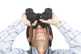 find and seek - man with binoculars poster