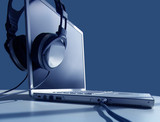 laptop listening poster