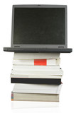 business laptop on top of books poster