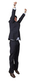 business man jumping of joy poster