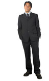 business man standing - hands in pockets poster