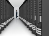 business man in a server room poster