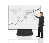 businessman presenting growth graph poster