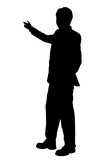 business man presenting - silhouette poster