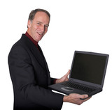 business man pointing at his laptop poster