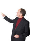 business man pointing in presentation poster