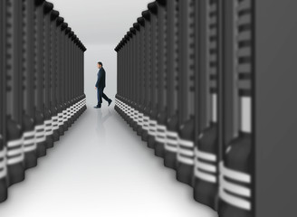 business man in a server room