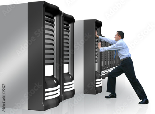 business man adding server to network