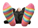 business woman on a break - colourful socks poster