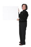 business woman holding a banner poster