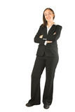 business woman standing and smiling poster