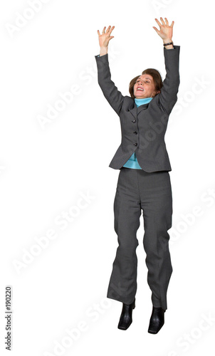 business woman jumping of joy