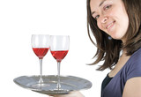 casual smiling woman holding a wine tray poster