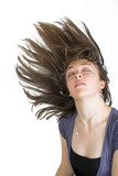beautiful fashionable woman with moving hair poster