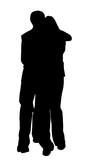 couple hug silhouette poster