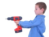 boy with a drill two poster