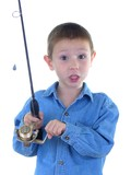 boy with a fishing rod two poster