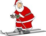 santa on skis poster