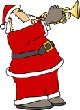 santa playing trumpet poster