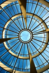 sky behind glass roof