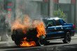 burning car - suv