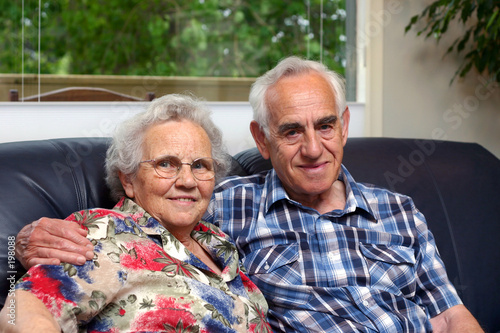 an elderly couple/grandparents.