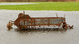 flooded antique farming equipment poster