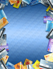 fictional credit cards and logos in frame 3d