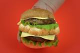 hamburger on red poster