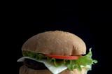 hamburger on black poster