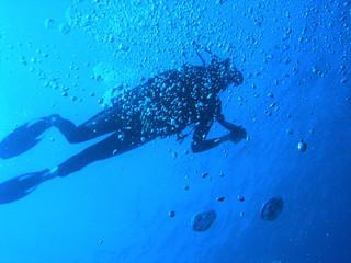 plongeur et bulles