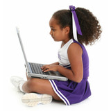 beautiful girl on floor with laptop poster