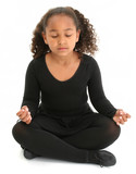beautiful girl on floor meditating poster