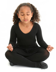 beautiful girl on floor meditating