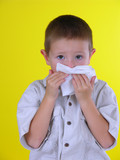 boy blowing nose poster