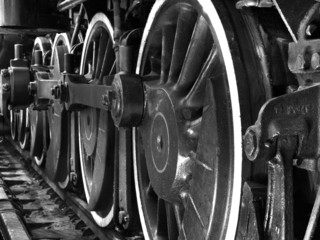 train wheels in black and white