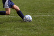 profile of girl kicking soccer ball