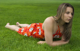 girl in grass poster