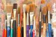 Leinwanddruck Bild - art paint brushes & palette