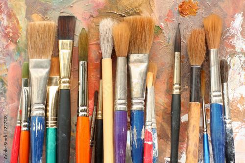 Leinwanddruck Bild art paint brushes & palette